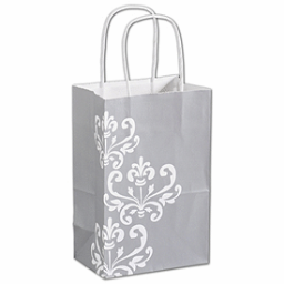"""Silvery Chic Shoppers, 5 1/4 x 3 1/2 x 8 1/4"""""""